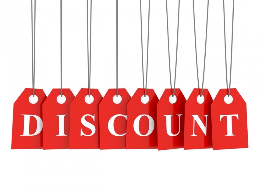 A series of eight red labels spelling out the word Discount.