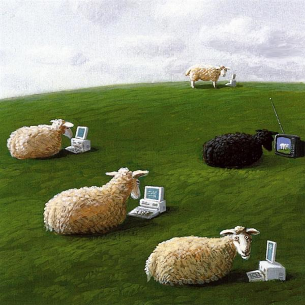 Drawing of sheep in a field looking at lap top computers